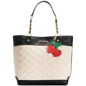 Betsey Johnson Quilted Heart Tote Bag